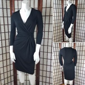 ANNE KLEIN KNOTTED WAIST LINED FAUX WRAP DRESS